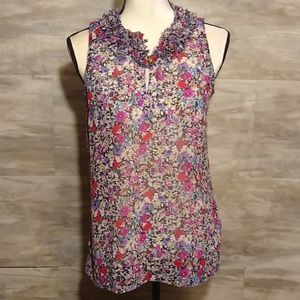 CAbi Floral Sleeveless ruffle Collar Top Size XS